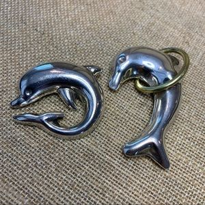 2 Vintage Playful 925 Silver Dolphin Pins Brooches